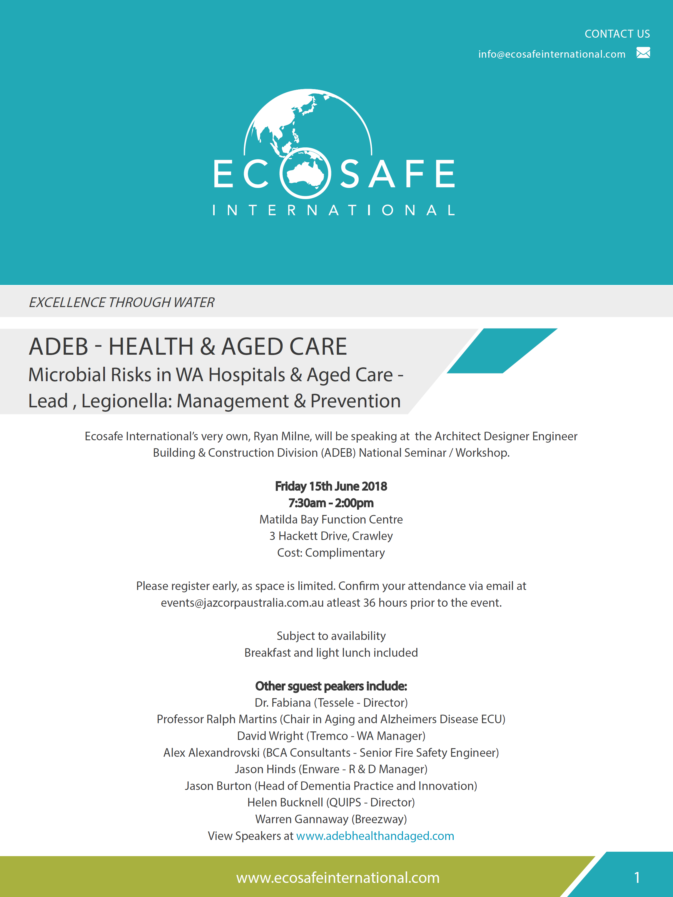 ADEB Health & Aged Care - Microbial Risks, Lead & Legionella